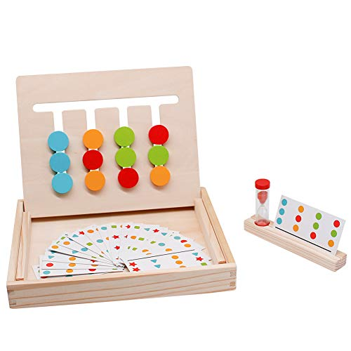 Fajiabao Wooden Montessori Toys Color Shape Sorting Logic Games Maze Slide Puzzle Board Kids Autism Toy Developmental Early Learning Trays Easter Gifts for Children Boys Girls