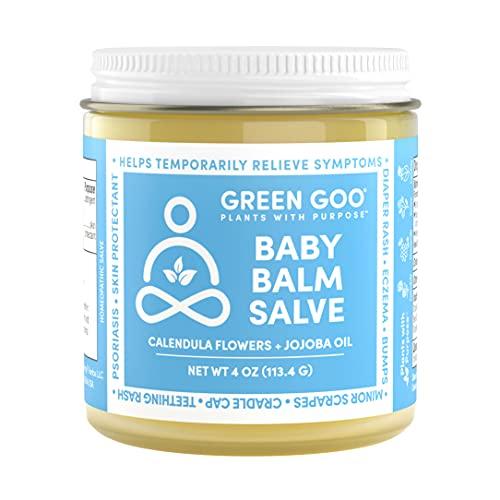 Green Goo All Natural Baby Balm Moisturizer for Diaper Rash Relief, Eczema, and Cradle Cap, 4 Ounce Jar