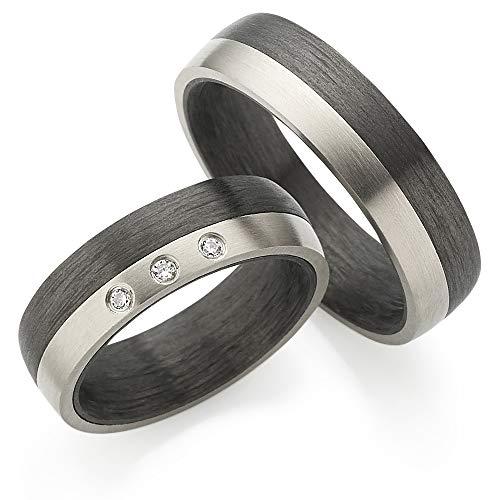 Edles Titan/Carbon in Juwelier-Qualität mit Zirkonia ***ZUM PAARPREIS*** von 123traumringe / 2x Trauringe/Eheringe (Gravur/Ringmaßband/Etui)