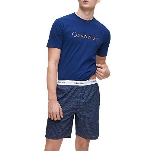 Calvin Klein - Conjunto de pijama y pantalones cortos de algodón moderno - Perth Blue Top/Digi Square Shorts