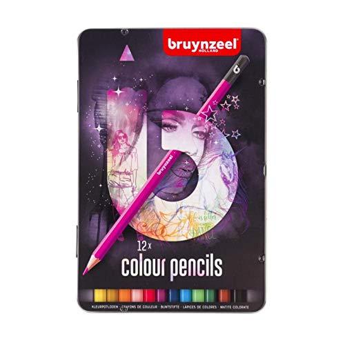 Bruynzeel TeenColored Pencil, 12-Piece, Pink Tin Set