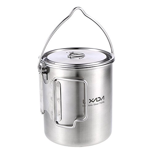 Lixada Camping Cup Pot,750ml Stainless Steel Water Cup Mug with Foldable Handles and Lid for Outdoor Camping Hiking Backpacking