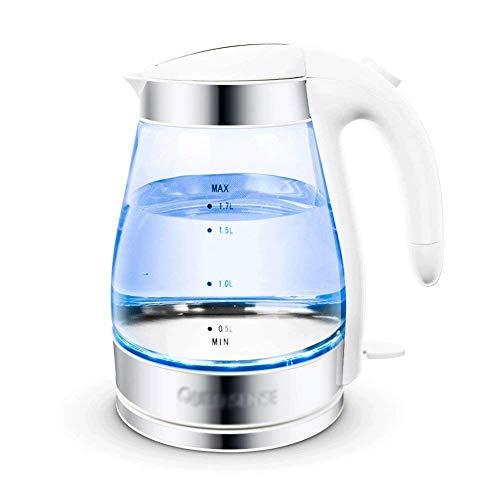 CJTMY Hervidor eléctrico - Caldera de té de vidrio (1.7L) Hervido rápido y sin cable, Acabado en acero inoxidable Caldera de agua caliente - Dispensador de agua caliente - Caldera de té de vidrio, Cal