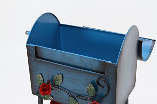 不二貿易『メールボックスローズ横型ブルー(XBDT683)』