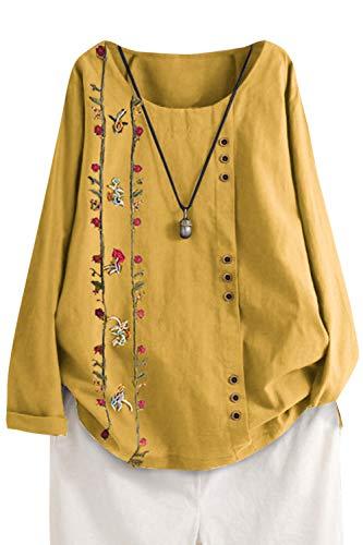 Femme Chemisier Manches Longues en Coton Lin Kaftan Imprimé Floral Tunique T-Shirt Baggy Tops Grande Taille Jaune S