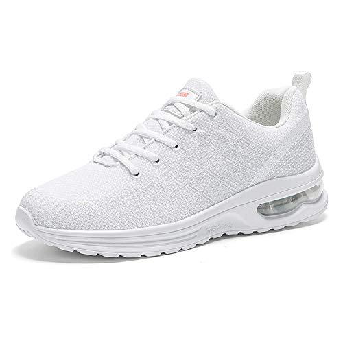 COOPCUP Hombres Zapatos De Verano Confort Casual Mujer Antideslizante Tejido Correr Gimnasio Sneskers, color Blanco, talla 46 EU