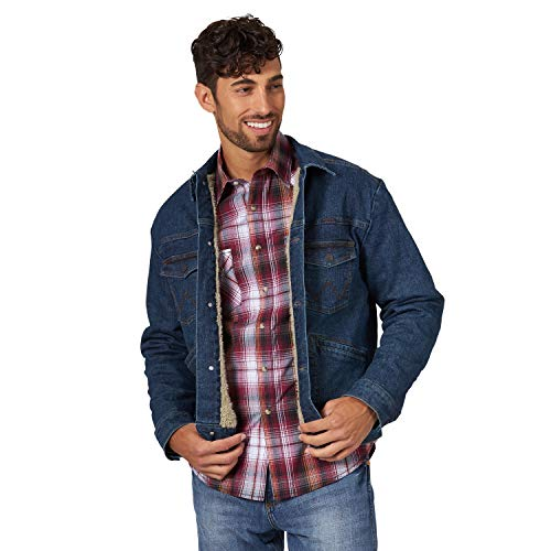 Wrangler Men's Retro Sherpa Lined Stretch Denim Jacket, Vintage Dark, M