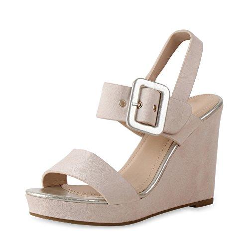 SCARPE VITA Damen Sandaletten Keilsandaletten Metallic Plateau Vorne Schuhe 159682 Creme 40