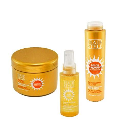 Set hair style: mascara+spray protector solar+champu, kit de proteccion solar para el cabello, set cuido del cabello