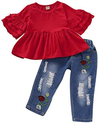 Infant Baby Girl Clothes Toddler Jeans for Kids Girls Ruffle Outfits Short Sleeve Shirt Tops product image