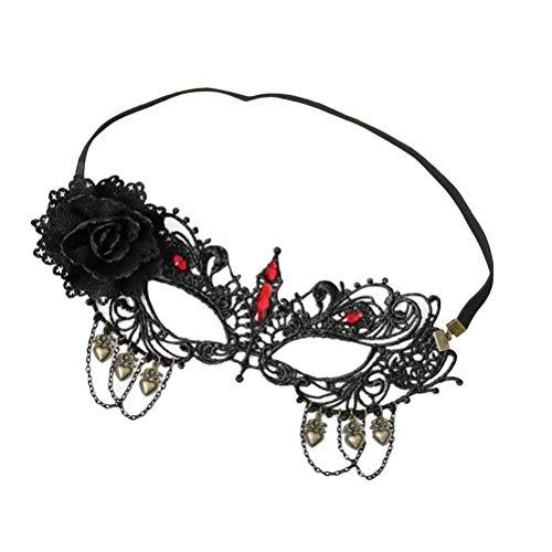 BESTOYARD Lace Masquerade Maske mit Strass Floral einstellbare Ausschnitt Augenmaske für Maskerade Party Kostüm Halloween Party Cosplay