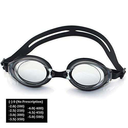 LAIABOR Optische Schwimmbrille mit Sehstärke (Diverse Zwischen -2 bis – 5.0) für Damen und Herren, Anti-Beschlag-Wasserdicht-Beschichtung,450°