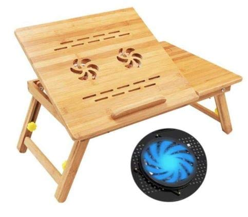 E-Home Bamboo Laptop Desk Adjustable with 2 CPU Cooling Fans   Portable Workstation   Ergonomic Bed Tray   Couch Sofa   Ventilation   Office Desk   Multi-Position