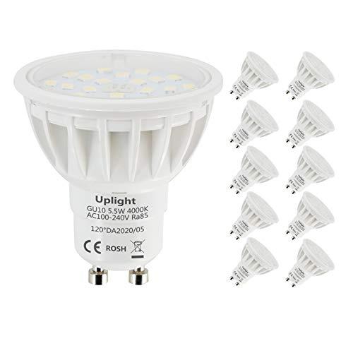 Uplight 5.5W GU10 LED Lampe Neutralweiß 4000K,Ersetz 50-60W GU10 Halogen Lampen,600lm 120° Abstrahlwinkel LED Leuchtmittel Ra85,10er Pack.