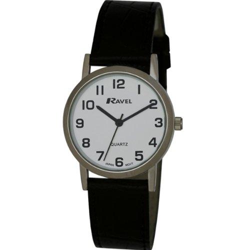 Ravel Herren Armbanduhr, Analog, schwarzes PU-Armband, weißes Zifferblatt, R0102.02.1