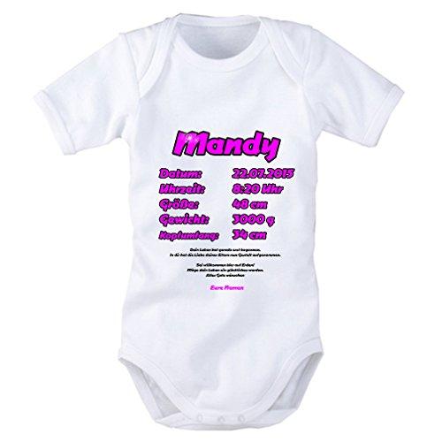 SHIRT-TO-GO Baby Body als Geschenkidee in pink für Mädchen: Name, Datum, Uhrzeit, Größe, Gewicht,...