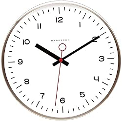 Marksson The Crosby Stainless Steel Wall Clock Silent Non-Ticking Wall Clock, 12 Quartz, Premium Materials, High End Mechanism, Ten Colors (White/Chili Red)