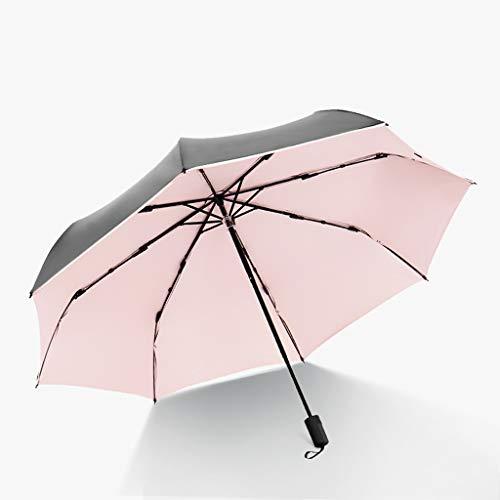 ZhuFengshop Paraplu Zwart Lijm Drie Vouwen Paraplu Reizen Zon Paraplu & regen Parasol - Licht Compact Parasol met UV-bescherming voor Paraplu Draagbaar, Regenbestendig, UV, Zon, Zomer, Buiten