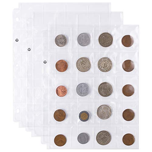 20-Pocket Vinyl 2 x 2 Coin Sleeves | 20 Three-Ringed Sheets of Coin Holders for Collections | Protection Supplies for Vintage Currency, Money | Covers Prevent Stains, Weathering, Rust, and More