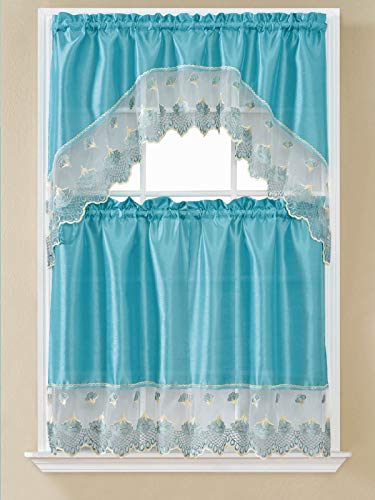 B&H Home Leah Aqua Embroidered 3-Piece Kitchen Curtain Window Treatment Set (Leah Aqua)