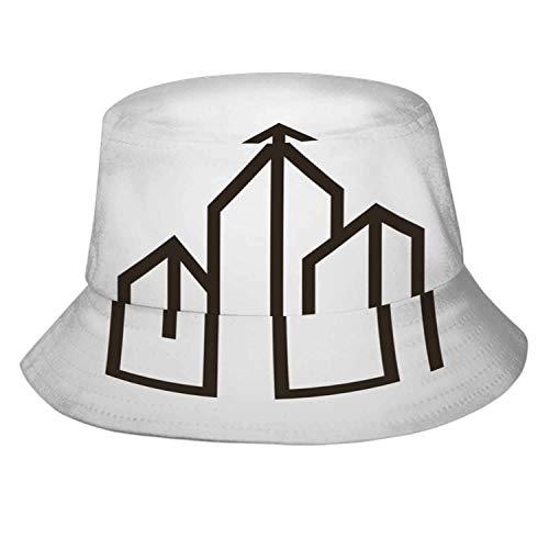 DJNGN Plano Abstracto de Arquitectura 3D, Sombrero de Cubo de Verano Unisex, Sombrero para el Sol, Sombrero de Vacaciones Plegable, Accesorios Divertidos, documento de Plan