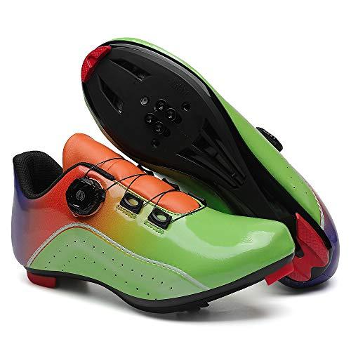 KUXUAN Zapatillas de Ciclismo para Mujer Hombre Carretera SPD Bike Zapatillas de Ciclismo Spin Shoestring con Compatible SPD Look Delta Cycle Riding Cleat Peloton,Green-13UK=(285mm)=47EU