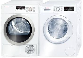 Bosch Front Load Laundry Pair with WAT28400UC 24' Washer and WTB86201UC 24' Electric Dryer in White