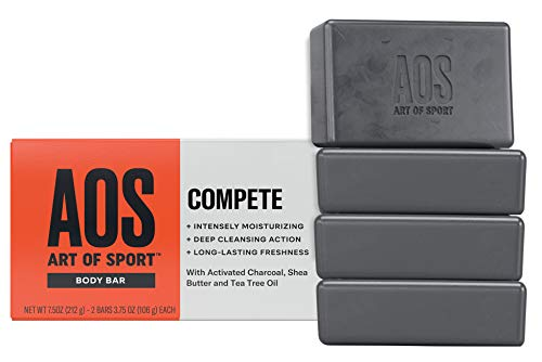 Art of Sport Body Bar Soap (4-Pack) - Compete Scent - Activated Charcoal Soap with Natural Botanicals Tea Tree Oil and Shea Butter - Energizing Citrus Fragrance - Shower + Hand Soap - 3.75oz