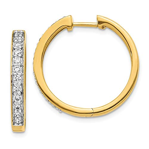 23mm 14ct Yellow Diamond Hoop Earrings Jewelry Gifts for Women