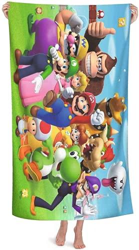 QWAS Mario - Toalla de playa de Super Mario Bros, toalla de baño, toalla de piscina, toalla de playa infantil, toalla de deporte, toalla de playa (6,70 × 140 cm)