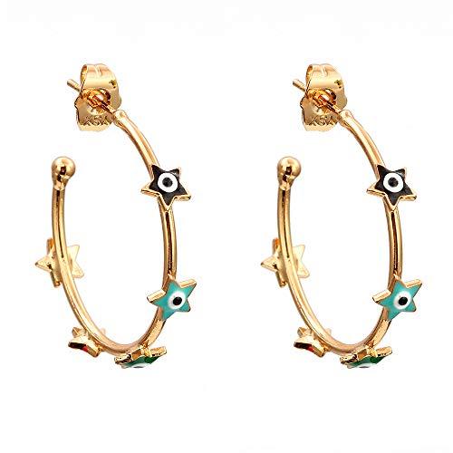 Estrella mal ojo stud aretes oro color cobre círculo coloridos pendientes joyería de moda para las mujeres damas niñas
