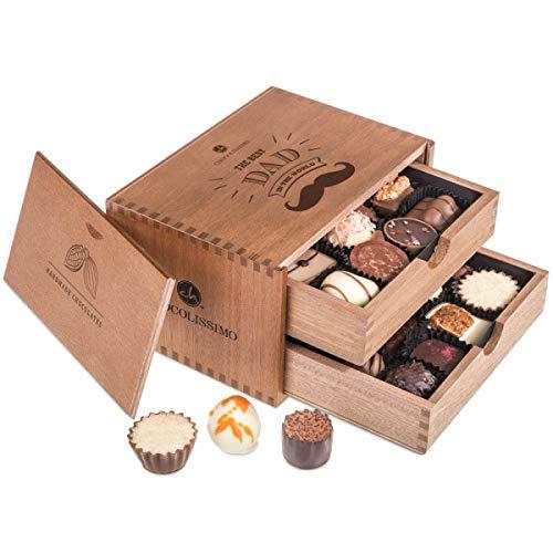 Chocolaterie - Vatertag - 20 Edle Pralinen | Geschenk | Vater | Geburtstag | Weihnachten | Geschenkidee | Schokolade | Süßigkeiten | Beste Papa der Welt | Vatertagsgeschenk | Weihnachtsschokolade