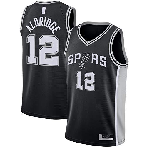 QSWW LaMarcus Clothing Aldridge Camiseta San Top Sin Mangas Antonio Baloncesto Jersey Spurs #12 2020/21 Swingman Jersey Negro - Icon Edition-L