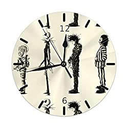 MUMUfei Bee-tle-ju-ice Jack Skellington Edward Round Wall Clock Silent Non Ticking Decorative 10 Inch Battery Operated Quartz Desk Clock for Home