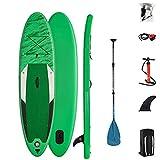 Inflatable Stand Up Paddle Board,Tabla De Sup con Paleta Ajustable, Mochila, Bomba De Mano, Kit De Reparación, para Jóvenes Adultos Pescando Yoga Capacidad Peso 308 Libras (Color : Green)