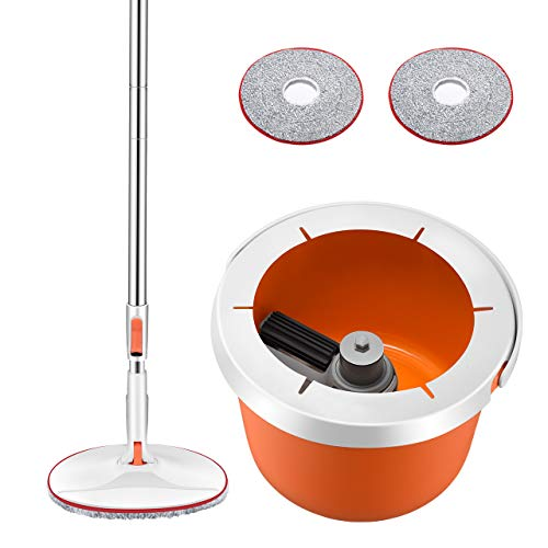 Homitt Easy Wring & Clean Wischmopp, Mop und Eimer Komplett Set, Leichtgewicht Bodenwischer ohne schmutzige Hände, mit Teleskopstange und 2 Mikrofasermopps zur Reinigung von Boden und Fliesen