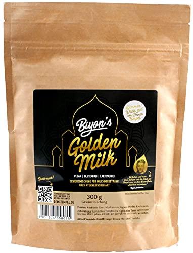 Biyon´s Golden Milk (1x 300g) ayurvedische Gewürzmischung | Kurkuma-Latte | vegan | laktosefrei | glutenfrei | zuckerfrei | Großpackung goldene-Milch Pulver