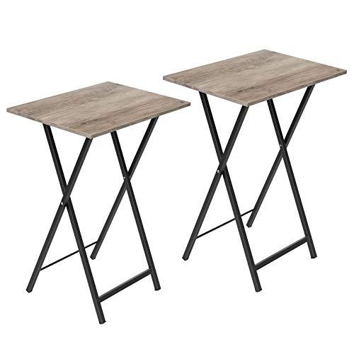 HOOBRO Beistelltisch, Klappbar Tablett Tisch, Sofatisch 2er Set, Serviertisch Snack Tisch Industriestil, Kaffeetisch TV Tray für kleinen Raum, einfach montierbar, stabiles, Greige-Schwarz EBG25BZ01