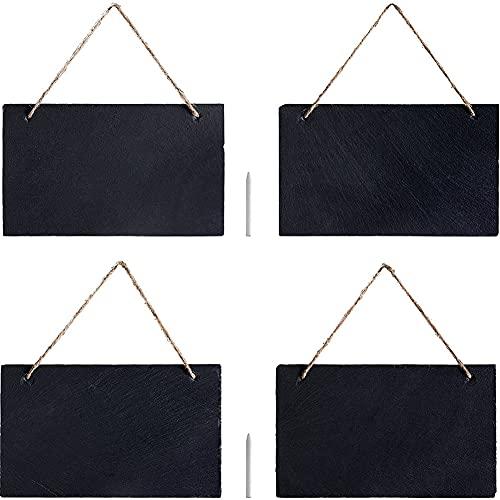 Cakunmik 4X Schiefer Kreidetafel zum Aufhängen - mit 25 x 15cm Schiefertafel Set - Schieferplatte Tafel zum Beschriften - Wand Notiztafel 4PCS