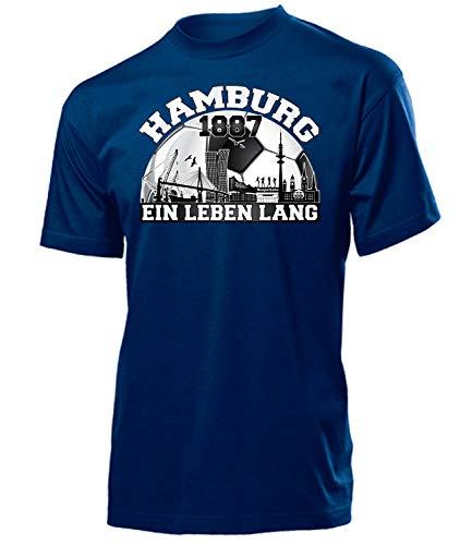 love-all-my-shirts Hamburg Fussball Motive zum auswählen Fanshirt Fan Artikel Männer Herren Tshirt Kapuzen Pullover Hoodie Pulli Tasse Kaffee Becher, T-shirt Navy 1887, XL