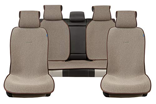 Sojoy Universal Four Seasons Full Set of Car Seat Cover and Cushions (Brown and Tan)