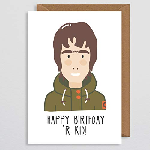 Grappige verjaardagskaart Vriendje - Liam Gallagher Verjaardagskaart - Muziekgeschenk - Beroemdheid - Oasis - Verjaardagskaart Muziek - voor Mannen - Jongens - Kaart voor Muziekliefhebbers - Manchester - Komedie - Humor - Onze Kid