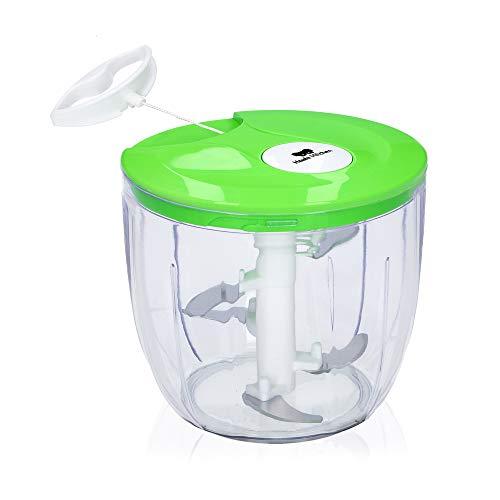 Koala Kitchen Multizerkleinerer Manuell - Großer 13 cm Zwiebelschneider mit Seilzug - Mini Food Processor mit 5 Edelstahl-Klingen