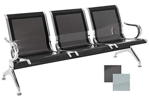 CLP Banco De Espera Airport con Soporte Metálico En Efecto Cromado | Banco Robusto para Zonas De Esperas | Banco En Diferentes Tamaños I Color: Negro, 170 x 50 cm (3 plazas)