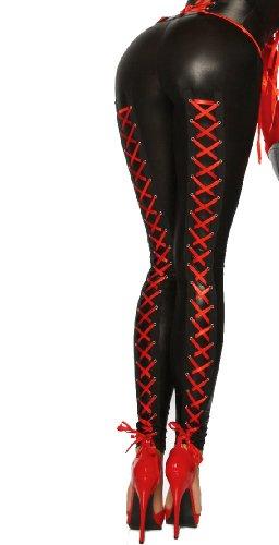 Yourdesignerz zwarte Wetlook leggings met veters, glanzend voor dames, huidsbroek, tights