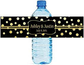 100 Gold Confetti Black Background Wedding Water Bottle Labels Engagement Party 8