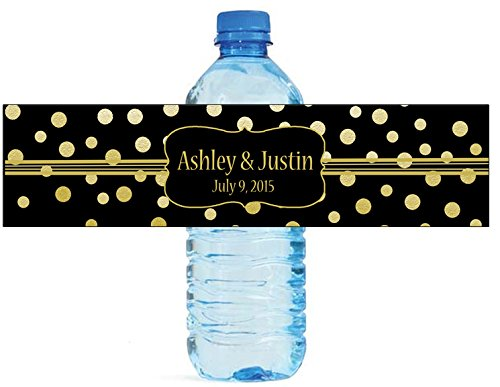 """100 Gold Confetti Black Background Wedding Water Bottle Labels Engagement Party 8""""x2"""""""
