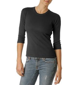 Michael Stars Women s Basic Three-Quarter Sleeve Tee Shirt Black One Size