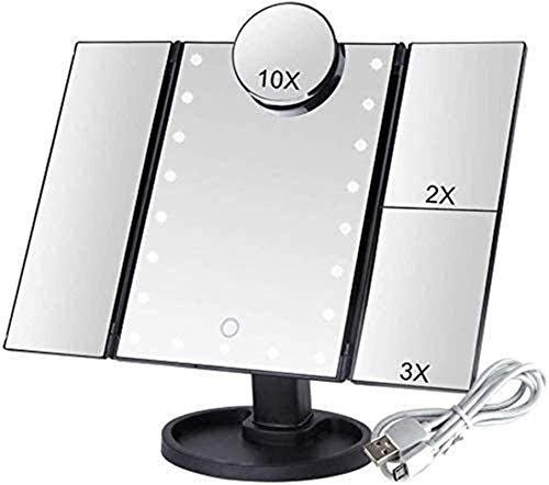 LED Espejo de Maquillaje Aumento, Espejos Maquillaje para el hogar 22 LED Luz Touch Pantalla táctil Flexible Vanidad de Aumento USB o batería Uso de la batería Tabletop Ajustable, Redondo Giratorio d
