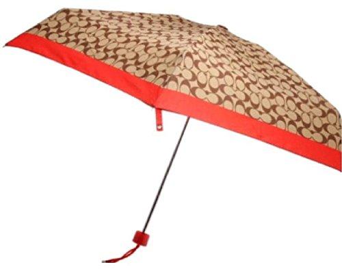 Coach Umbrella in Signature Khaki/vermillion